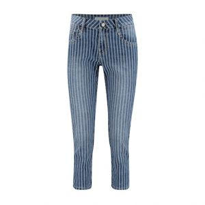 red button suze denim stripe