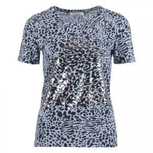 Enjoy t-shirt korte mouwen 2 kleuren print licht blauw