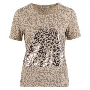 Enjoy t-shirt korte mouwen 2 kleuren print zand