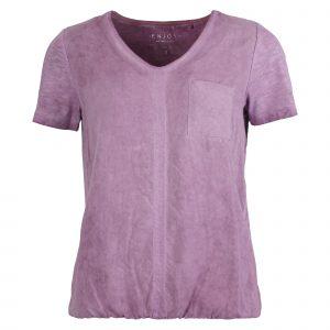 Enjoy blouson v-hals cold-dye 2 materialen lila