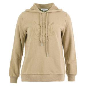 sweater uni capuchon embossed tijgerkop zand