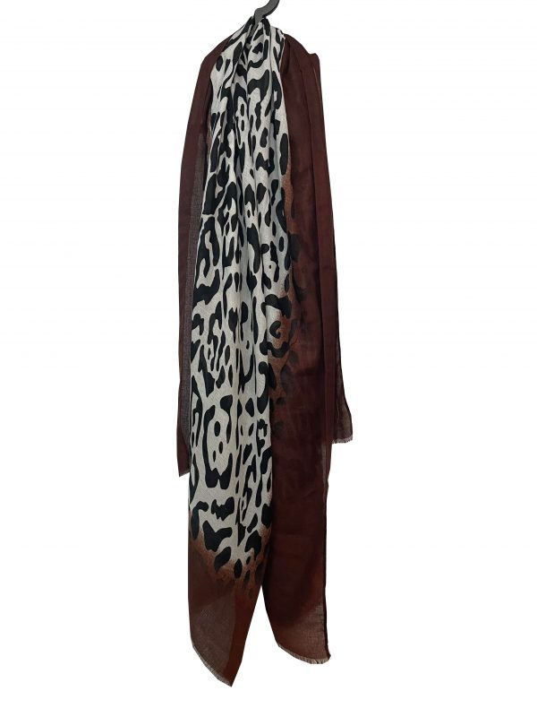 Sjaal panter donker bruin