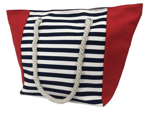 strandtas streep blauw wit rood vierkant